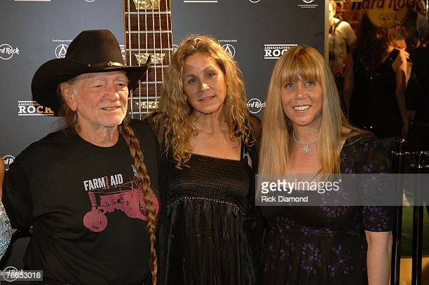 Musician Willie Nelson Wife Annie Nelson and XM Radio's Randi Rhodes arrive on The Green Carprt at The Launch of the Sustainable Biodiesel Alliance...
