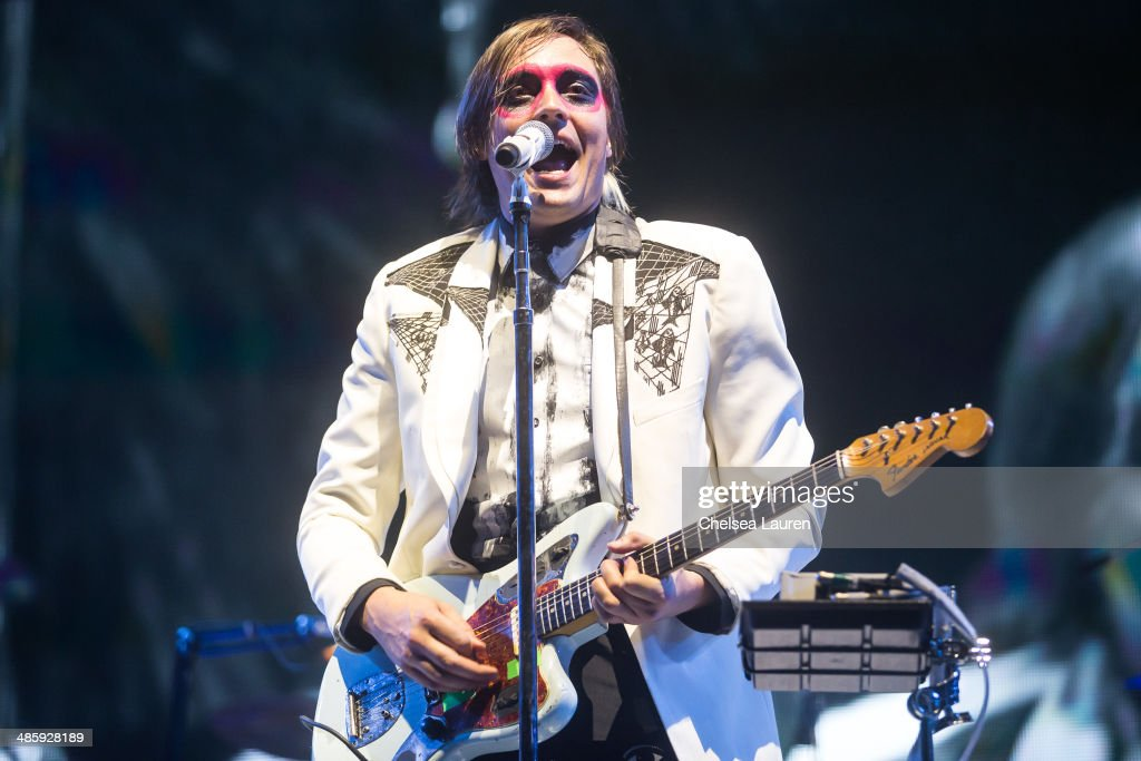 Musician Win Butler of Arcade Fire performs at the Coachella valley music and arts festival at The Empire Polo Club on April 20, 2014 in Indio, California.