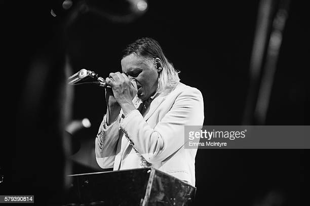 Musician Win Butler of 'Arcade Fire' performs on Day 2 of the WayHome Music and Arts Festival on July 23 2016 in OroMedonte Canada