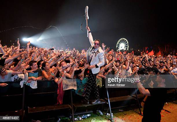 Musician Win Butler of Arcade Fire performs onstage during day 3 of the 2014 Coachella Valley Music Arts Festival at the Empire Polo Club on April 20...