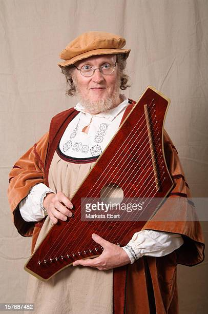 musician with psaltery - renaissance stock-fotos und bilder
