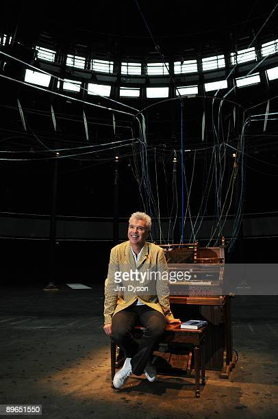 Musician writer and artist David Byrne poses at the launch of his installation 'Playing the Building' at the Camden Roundhouse on August 7 2009 in...