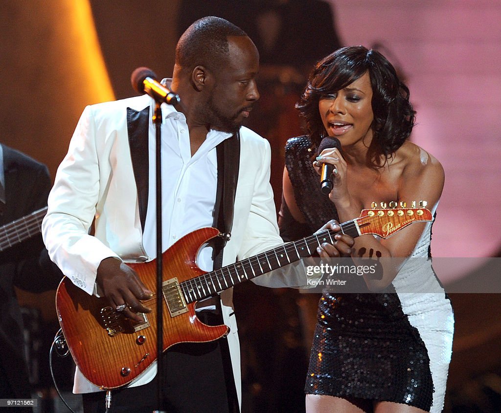 Musician Wyclef Jean (L) and singer Keri Hilson perform onstage during the 41st NAACP Image awards held at The Shrine Auditorium on February 26, 2010 in Los Angeles, California.