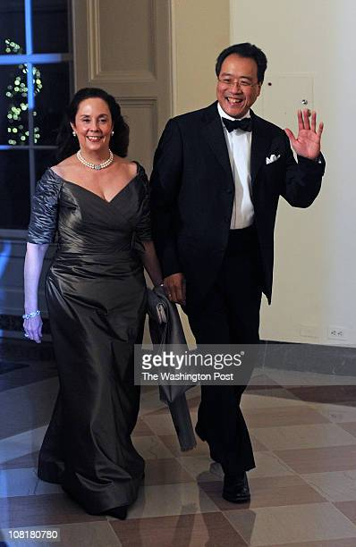 Musician Yo Yo Ma arrives with Ms Jill Hornor before President Obama hosts Chinese President Hu Jintao at a State Dinner at the White House January...