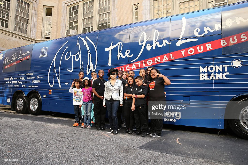 Musician Yoko Ono attends the John Lennon Educational Tour Bus Event at P.S. 171 Patrick Henry School on September 15, 2014 in New York City.