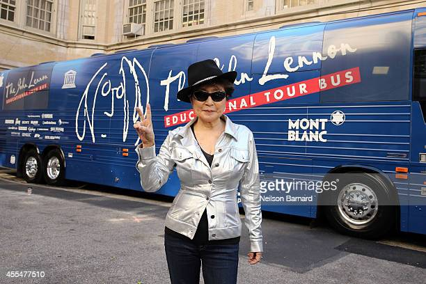 Musician Yoko Ono attends the John Lennon Educational Tour Bus Event at PS 171 Patrick Henry School on September 15 2014 in New York City