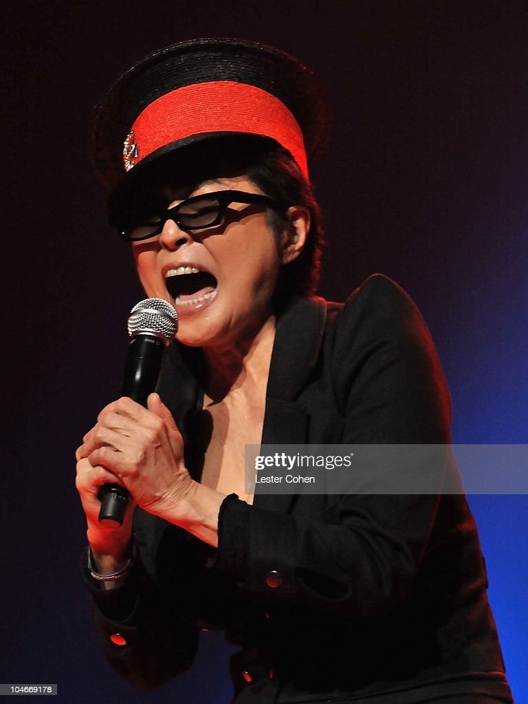 Musician Yoko Ono performs with 'We Are Plastic Ono Band' at the Orpheum Theatre on October 2, 2010 in Los Angeles, California.