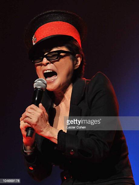 Musician Yoko Ono performs with We Are Plastic Ono Band at the Orpheum Theatre on October 2 2010 in Los Angeles California