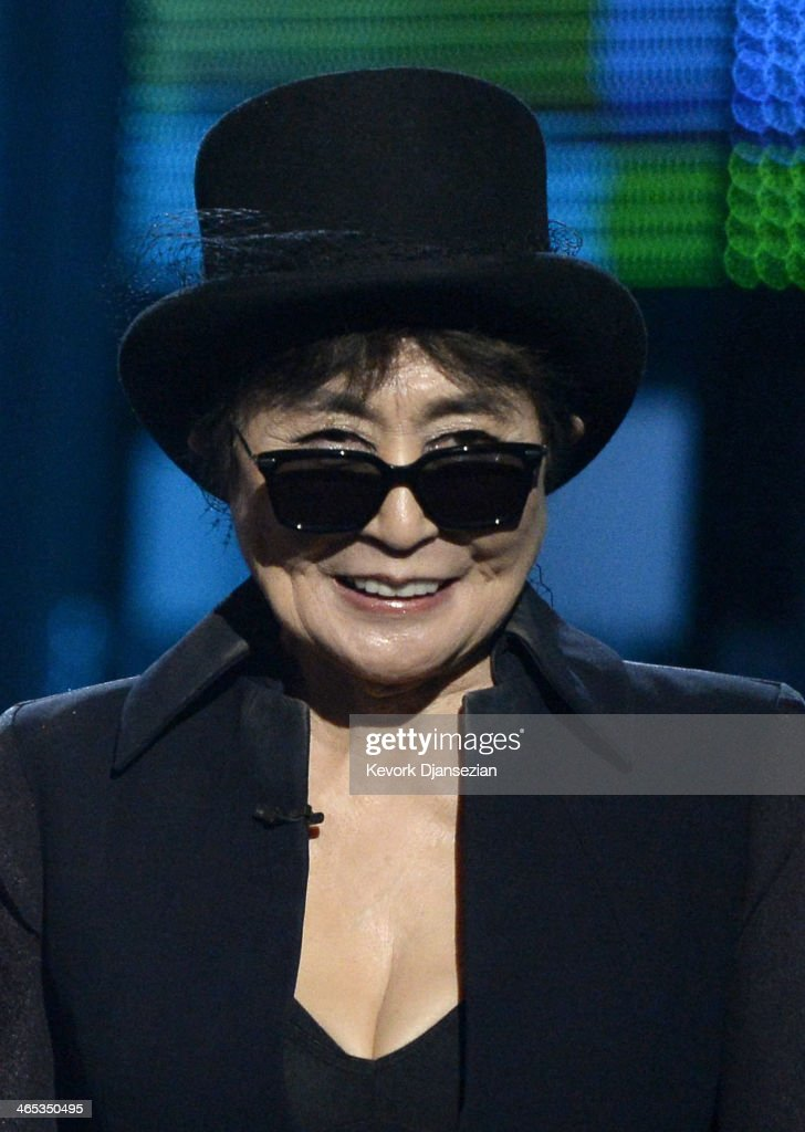 Musician Yoko Ono speaks onstage during the 56th GRAMMY Awards at Staples Center on January 26, 2014 in Los Angeles, California.