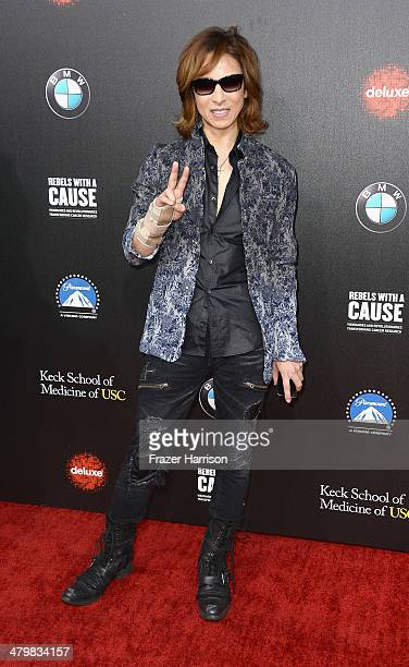 Musician Yoshiki arrives at the 2nd Annual Rebels With A Cause Gala at Paramount Studios on March 20 2014 in Hollywood California
