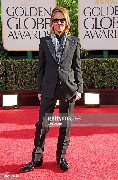 Musician Yoshiki Hayashi arrives at the 70th Annual Golden Globe Awards held at The Beverly Hilton Hotel on January 13 2013 in Beverly Hills...
