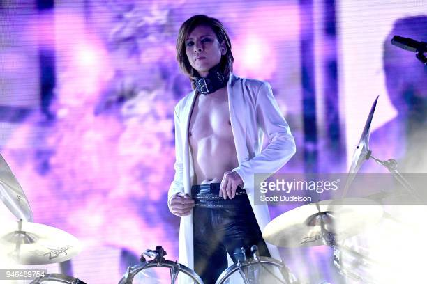 Musician Yoshiki Hayashi co founder of the band X Japan performs on the Sahara stage during week 1 day 2 of the Coachella Valley Music and Arts...