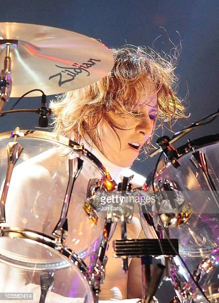 Musician Yoshiki of X Japan performs live at Nissan Stadium on August 14 2010 in Yokohama Japan