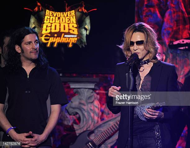 Musician Yoshiki of XJapan on stage at the 2012 Revolver Golden Gods Award Show at Club Nokia on April 11 2012 in Los Angeles California