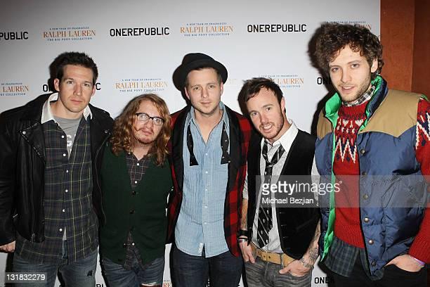 Musician Zach Filkins musician Drew Brown musician Ryan Tedder musician Eddier Fisher and musician Brent Kutzle of OneRepublic pose at House Of Hype...