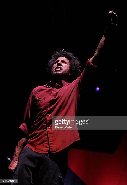 Musician Zack De La Rocha from the band Rage Against the Machine performs during day 3 of the Coachella Music Festival held at the Empire Polo Field...
