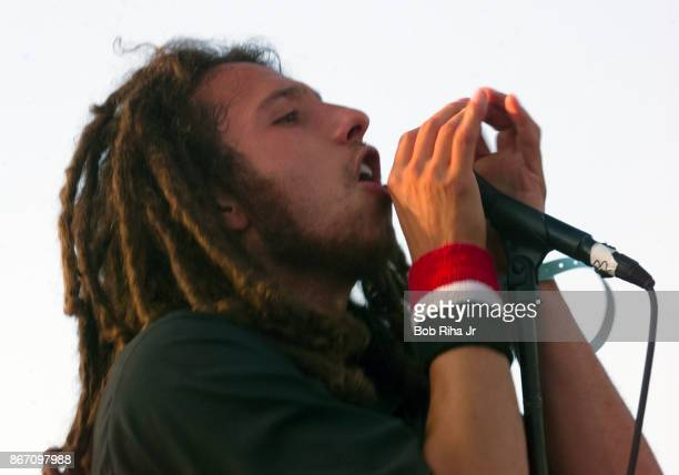 Musician Zack de la Rocha with 'Rage Against the Machine' performs at the designated protest site near the Democratic National Convention in Los...