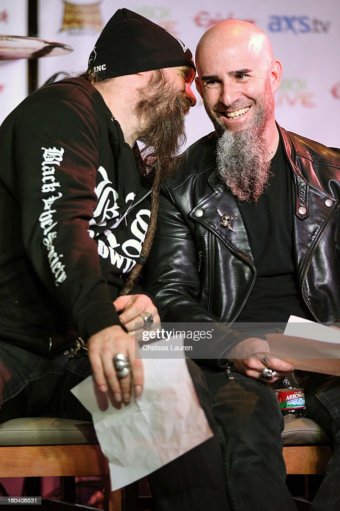 Musician Zakk Wylde of Black Label Society (L) and guitarist Scott Ian of Anthrax attend the Revolver Golden Gods Awards press conference at Hard Rock Cafe - Hollywood on January 30, 2013 in Hollywood, California.