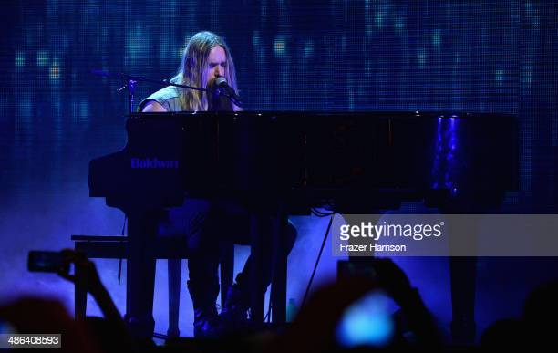 Musician Zakk Wylde performs onstage at the 2014 Revolver Golden Gods Awards at Club Nokia on April 23 2014 in Los Angeles California