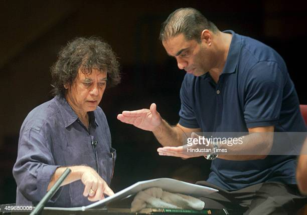Musician Zane Dalal and Indian Classical musician and Tabla maestro Zakir Hussain during the rehearsal at Jamshed Bhabha theatre NCPA Nariman Point...