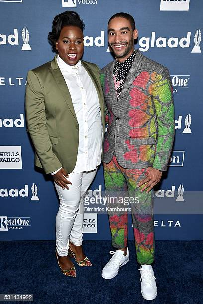 Musician Zeke Thomas and Alex Newell attend the 27th Annual GLAAD Media Awards in New York on May 14 2016 in New York City