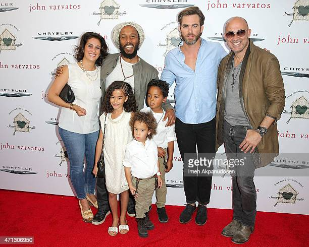 Musician Ziggy Marley his wife Orly Marley and their children actor Chris Pine and designer John Varvatos attend the 12th Annual John Varvatos Stuart...