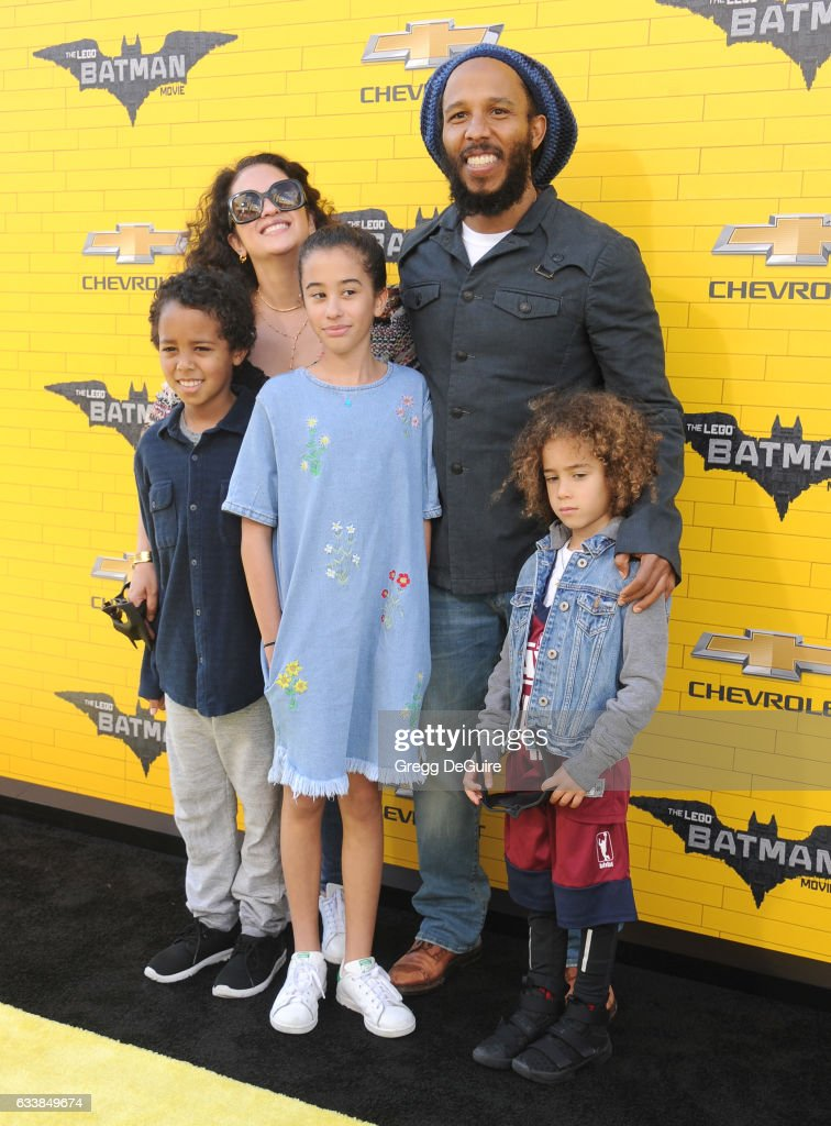 Musician Ziggy Marley, wife Orly Marley and kids arrive at the premiere of Warner Bros. Pictures' 'The LEGO Batman Movie' at Regency Village Theatre on February 4, 2017 in Westwood, California.