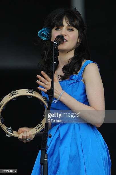 Musician Zooey Deschanel of She Him performs during the 2008 Virgin Mobile Festival at Pimlico Race Course on August 10 2008 in Baltimore Maryland