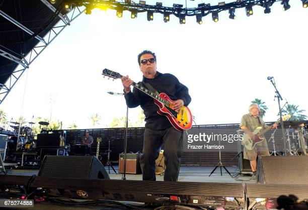Musiciana Cesar Rosas and Conrad Lozano of Los Lobos perform on the Palomino Stage during day 3 of 2017 Stagecoach California's Country Music...