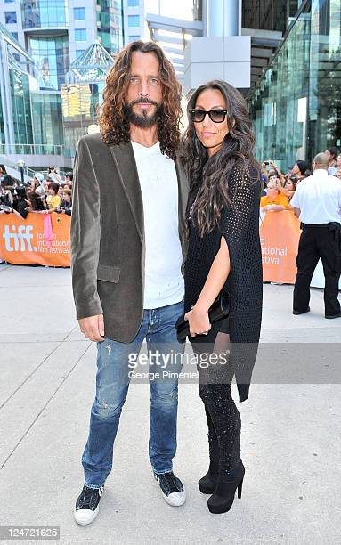 Musician/actor Chris Cornell and wife Vicky Karayiannis arrive at the premiere of 'Machine Gun Preacher' at Roy Thomson Hall during the 2011 Toronto...