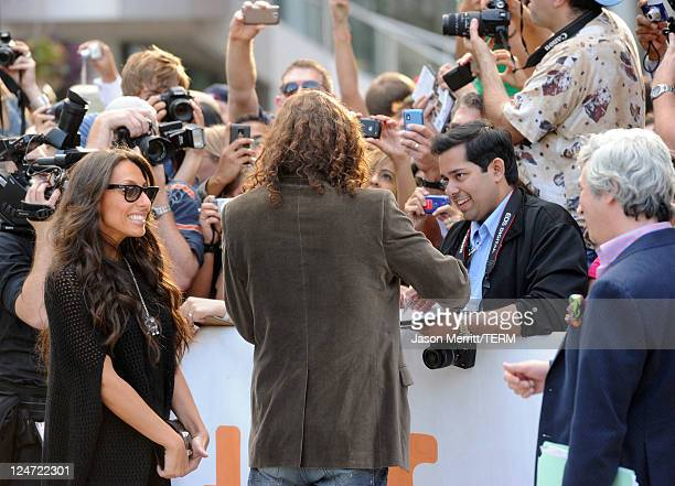 Musician/actor Chris Cornell and wife Vicky Karayiannis arrives at the premiere of 'Machine Gun Preacher' at Roy Thomson Hall during the 2011 Toronto...