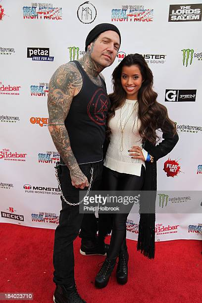 Musician/Actor Evan Seinfeld and Actress Lupe Fuentes arrive at the VIP opening night party at Rob Zombie's Great American Nightmare held at the...