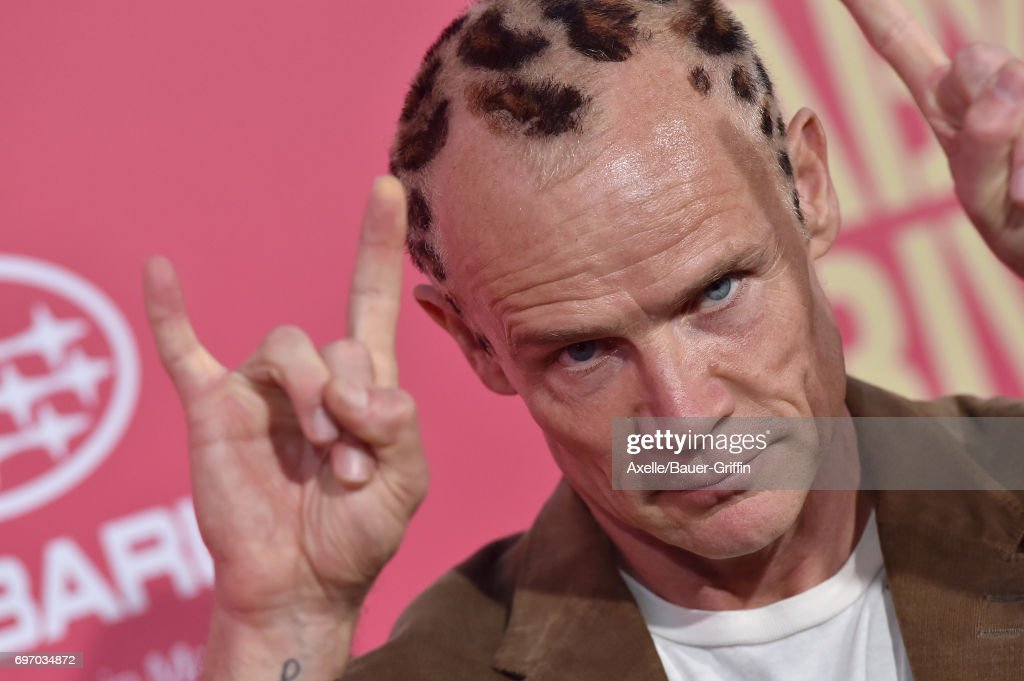 Musician/actor Flea arrives at the premiere of 'Baby Driver' at Ace Hotel on June 14, 2017 in Los Angeles, California.