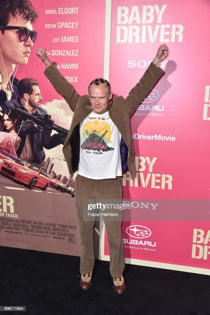 Musician/actor Flea arrives at the Premiere of Sony Pictures' 'Baby Driver' at Ace Hotel on June 14, 2017 in Los Angeles, California.