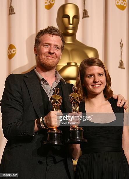 Musician/Actor Glen Hansard and Musician/Actress Marketa Irglova poses in the press room during the 80th Annual Academy Awards at the Kodak Theatre...