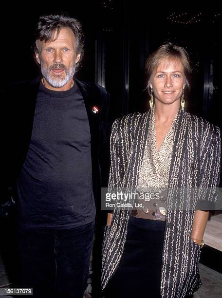 Musician/Actor Kris Kristofferson and wife Lisa Meyers attend the 'American Civil Liberties Union Fundraiser Dinner' on April 14 1989 at Century...