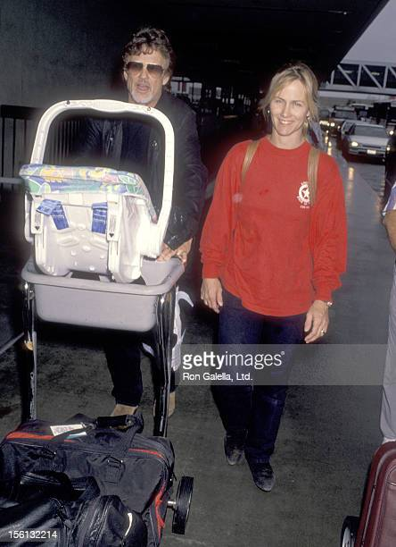Musician/Actor Kris Kristofferson wife Lisa Meyers and son Blake Kristofferson on January 8 1995 arriving at the Los Angeles International Airport in...