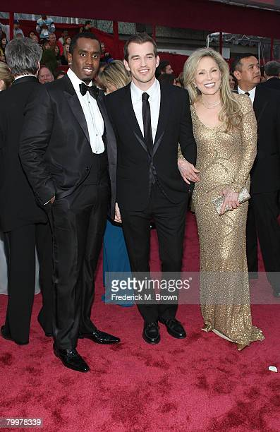 Musician-actor Sean Combs, Liam Dunaway O'Neill and actress Faye Dunaway arrive at the 80th Annual Academy Awards held at the Kodak Theatre on...
