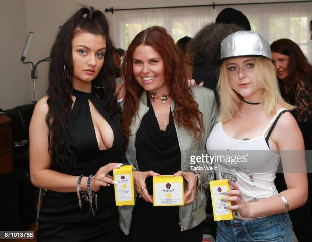 Musician/actress Laci Kay celebrity stylist Ali Levine and musical artist/actress Mahkenna with BananaBanana by Tina Cassaday Beverly Hills at A Day...