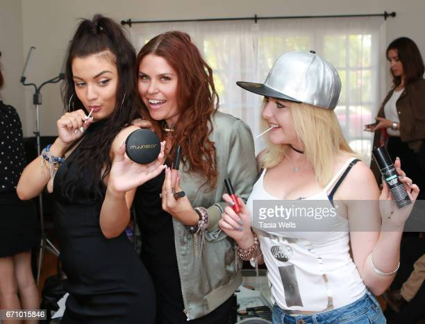 Musician/actress Laci Kay celebrity stylist Ali Levine and musical artist/actress Mahkenna with Moonstar Beauty products and Zollipops at A Day of...