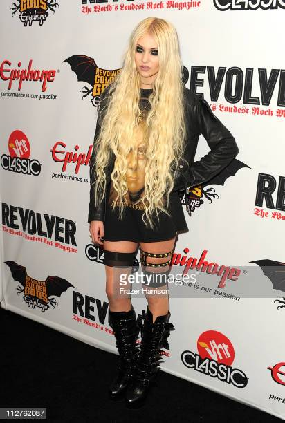 Musician/actress Taylor Momsen arrives at the 3rd Annual Revolver Golden God Awards at the Club Nokia on April 20 2011 in Los Angeles California