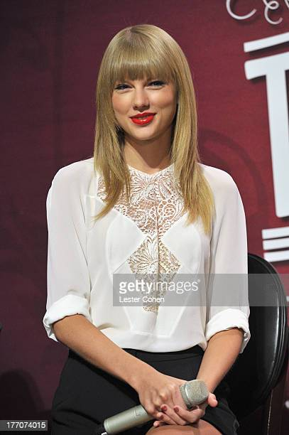 Musician/actress Taylor Swift attends a press event held at Staples Center on August 20 2013 in Los Angeles California