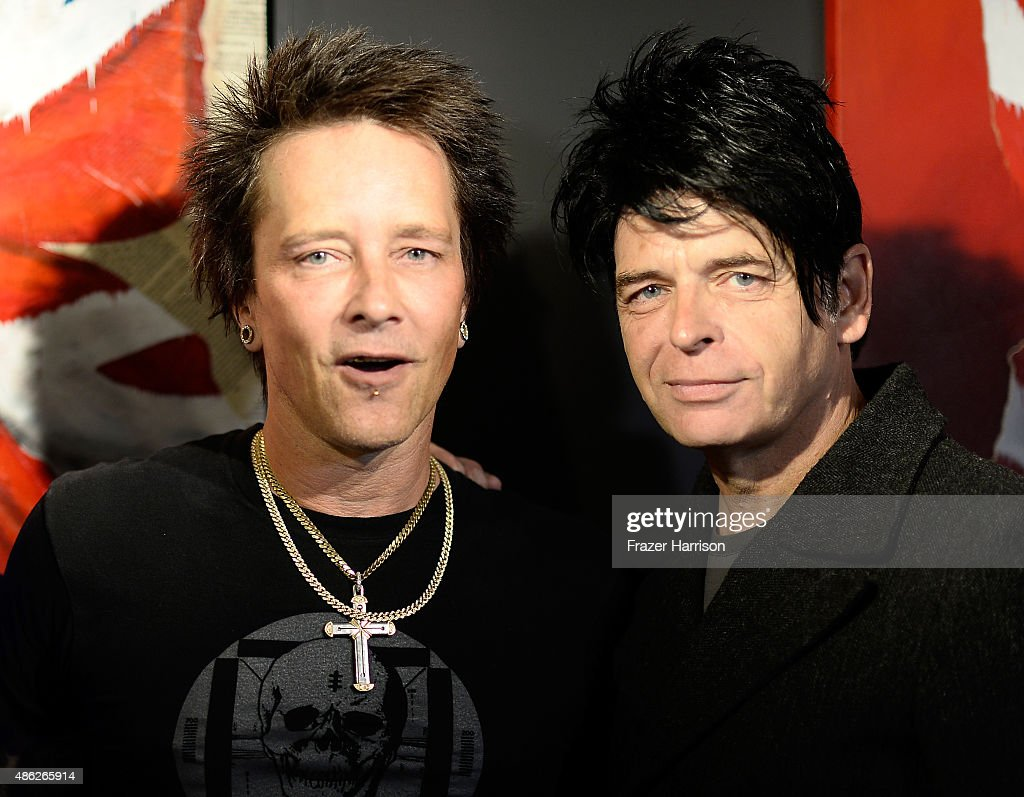 Musician/artist Billy Morrison and musician Gary Numan attend an VIP Opening Reception For 'Dis-Ease' An Evening Of Fine Art With Billy Morrison at Mouche Gallery on September 2, 2015 in Beverly Hills, California.