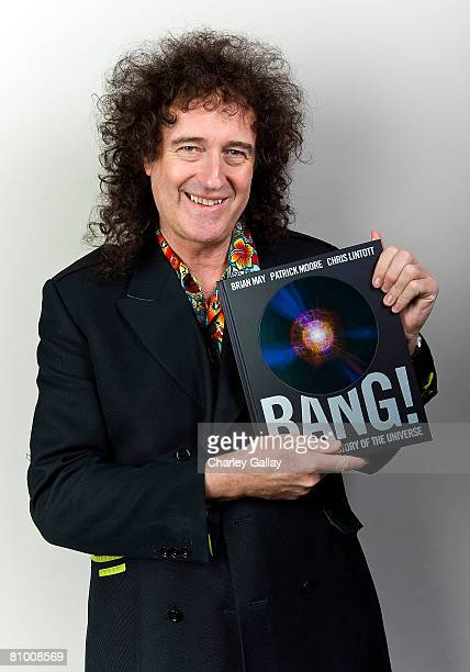 Musicianauthor Brian May poses for a portrait at a signing of his Astronomy book 'Bang The Complete History of the Universe' at Book Soup on May 6...
