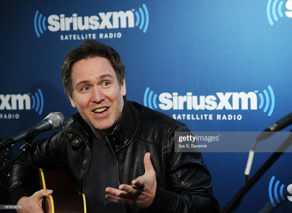 Musician/comedian Stephen Lynch performs on Raw Dog Comedy with host Mark Seman in the SiriusXM studios on May 3, 2013 in New York City.