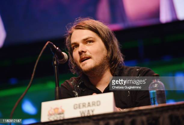 Musician/comic book writer Gerard Way speaks at 2019 Los Angeles ComicCon at Los Angeles Convention Center on October 13 2019 in Los Angeles...