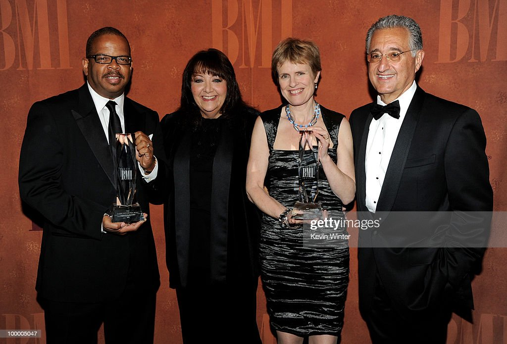 Musician/composer Terence Blanchard, accepting the Classic Contribution Award, BMI VP of Film/TV Relations Doreen Ringer Ross, composer Rachel Portman accepting the Richard Kirk Award and BMI President/CEO Del Bryant pose at the 2010 BMI Film and Television Awards at the Beverly Wilshire Hotel on May 19, 2010 in Beverly Hills, California.