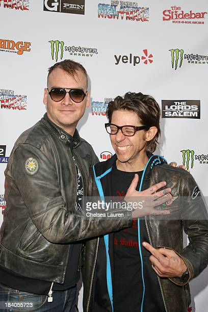 MusicianD Matt Skiba and Atom Willard of The Hell attend Rob Zombie's Great American Nightmare VIP opening night party at Pomona FEARplex on October...