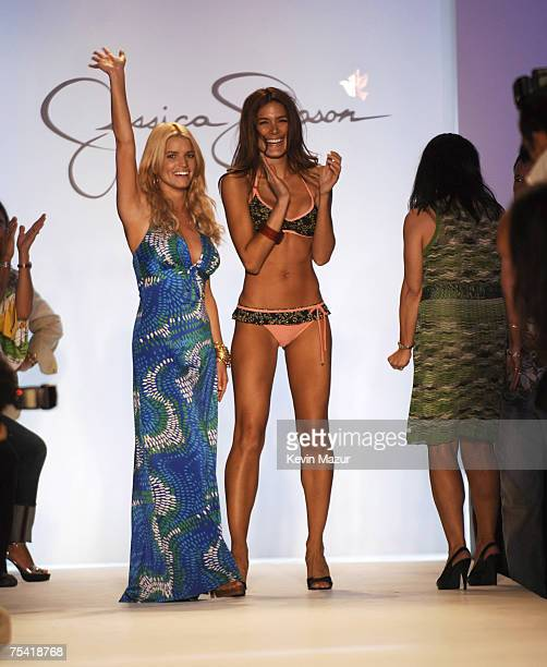 """Musician/Designer Jessica Simpson after her swimwear fashion show during """"Mercedes Benz Fashion Week: Miami Swim"""" at the Raleigh Hotel on July 14,..."""