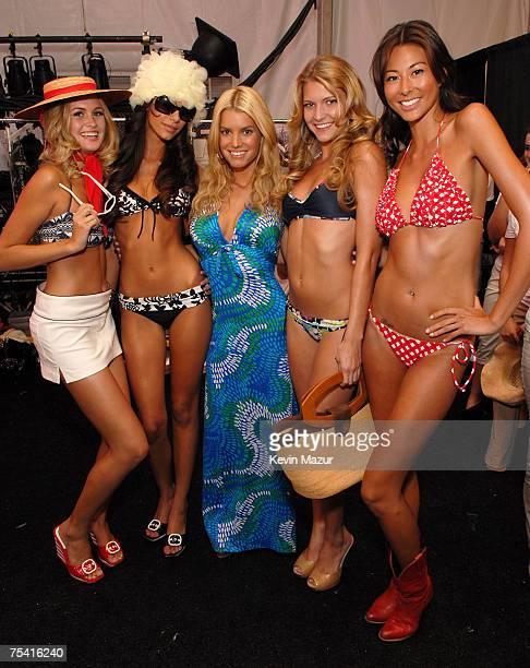 Musician/Designer Jessica Simpson and Models wearing Jessica Simpson Swimwear Collection Designed by Jessica Simpson and Tina Simpson backstage...